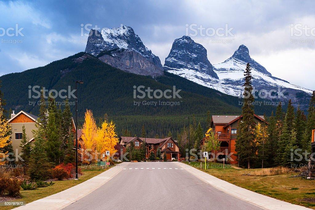 Three Sisters Mountains stock photo