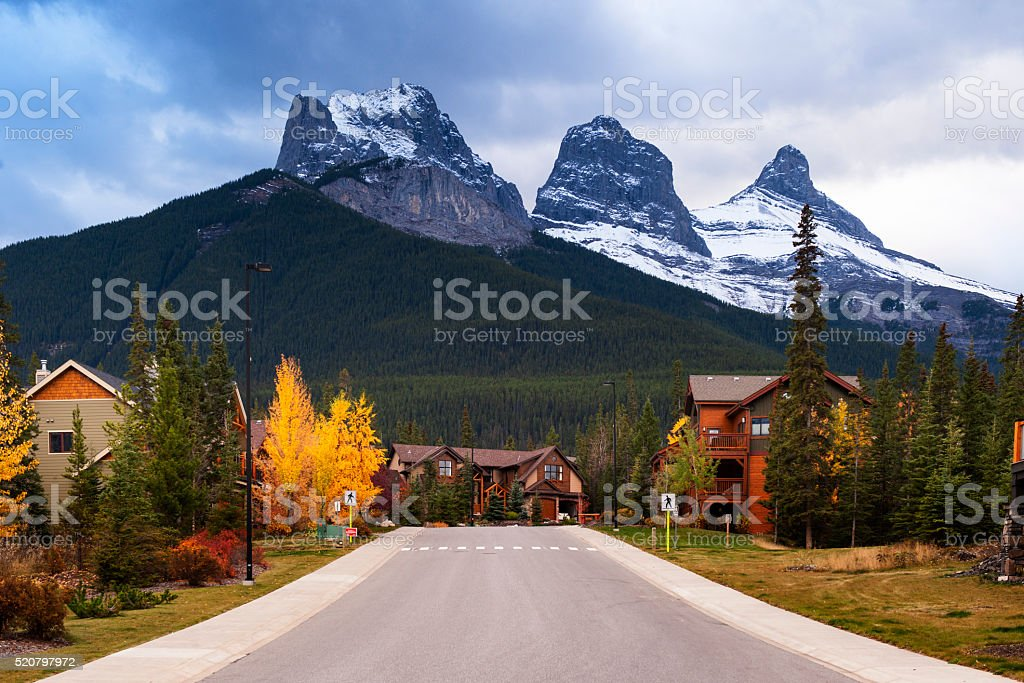 Three Sisters Mountains stock photo