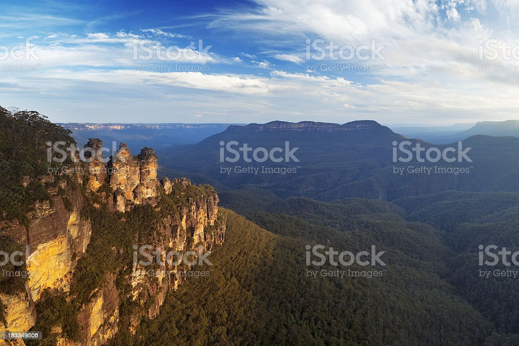 Three Sisters rock formation, Blue Mountains, Australia at sunset royalty-free stock photo