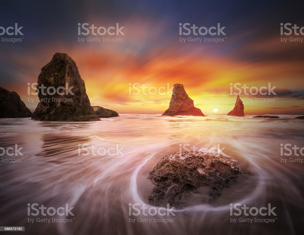 Three sisters with one sun stock photo