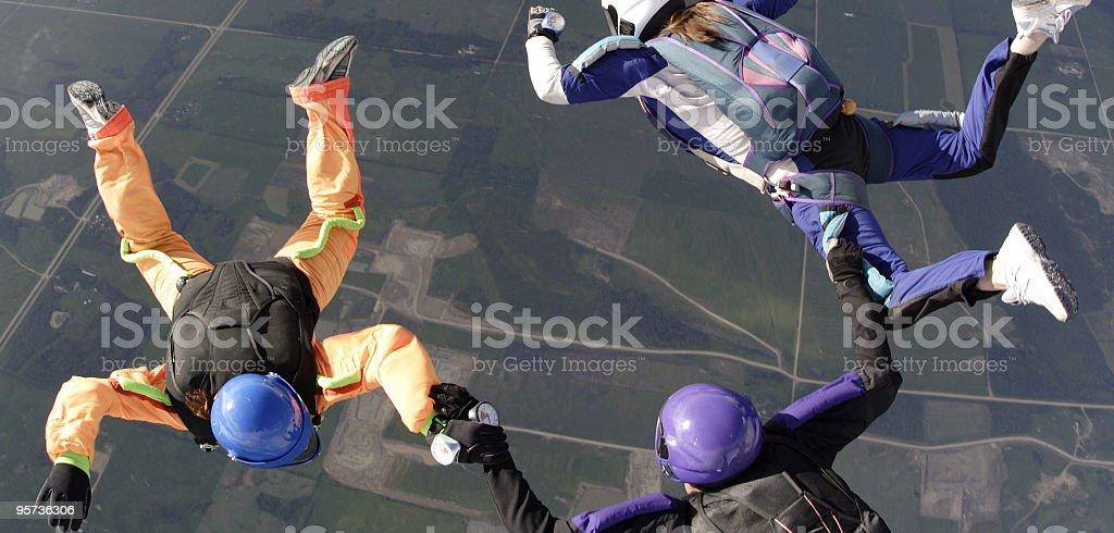 Three Skydivers royalty-free stock photo