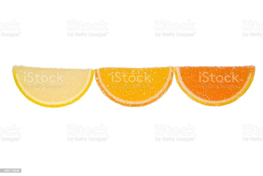 Three Slices Of  Marmalade On A White Background. stock photo