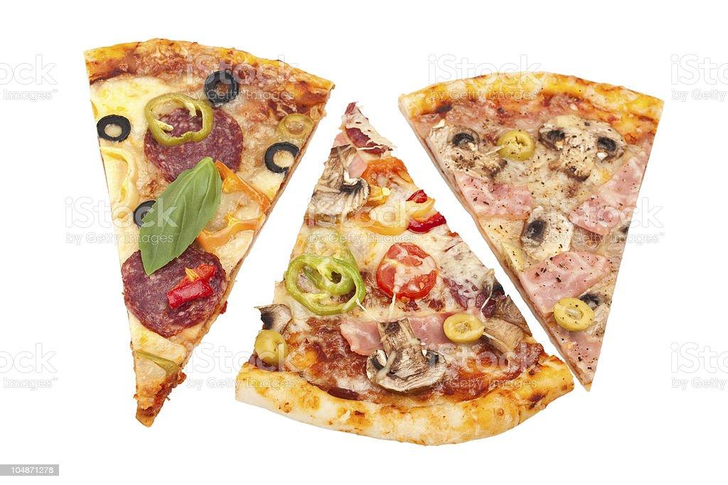 three slices of pizza royalty-free stock photo