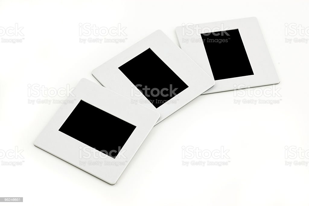 Three slides with plastic frames royalty-free stock photo