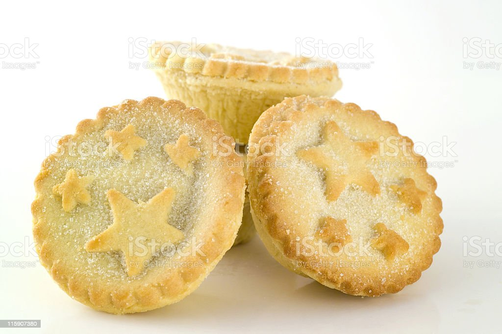Three small Christmas mince pies stock photo