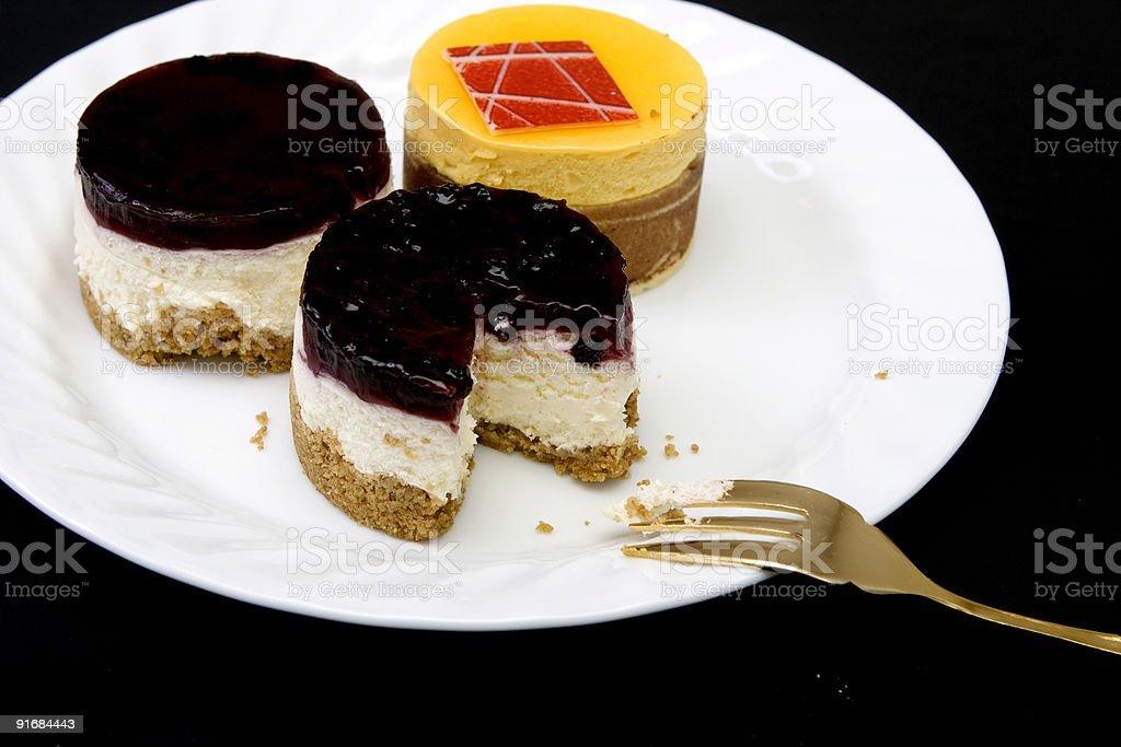 three small fancy cakes royalty-free stock photo