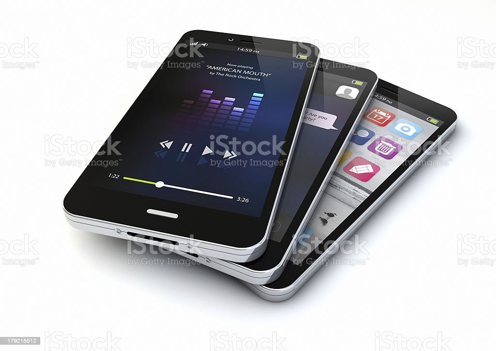 three smartphones royalty-free stock photo