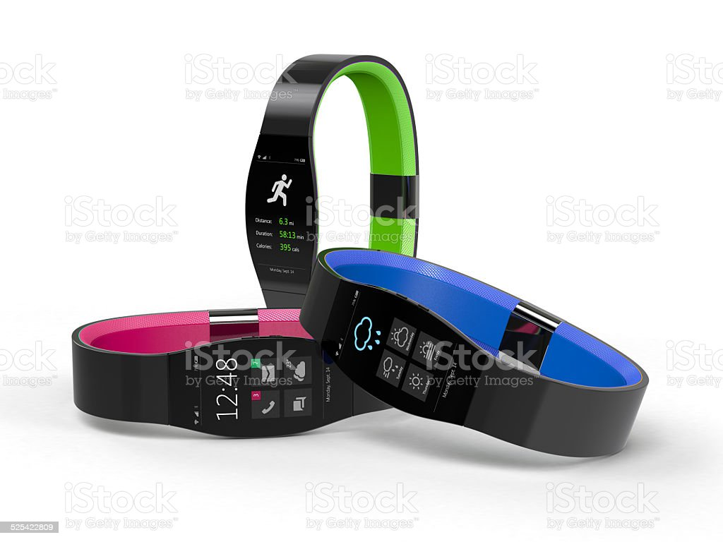 Three Smartwatches – Wearable Mobile Devices stock photo