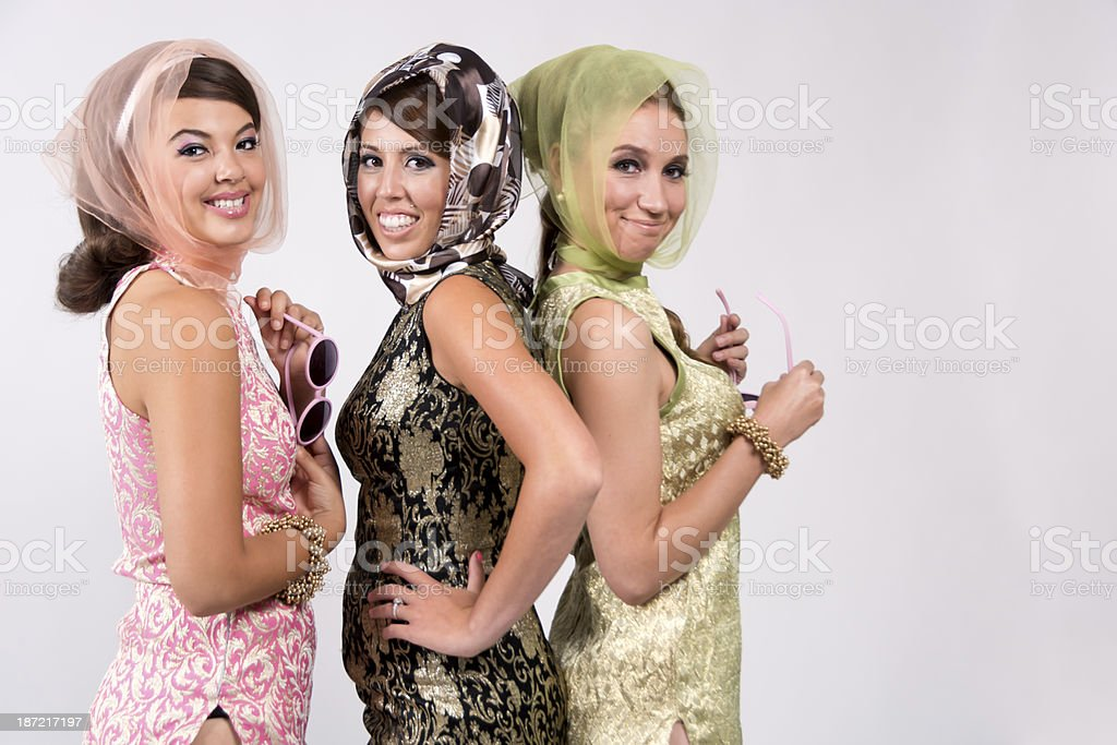 Three smiling 60s women with copyspace. royalty-free stock photo
