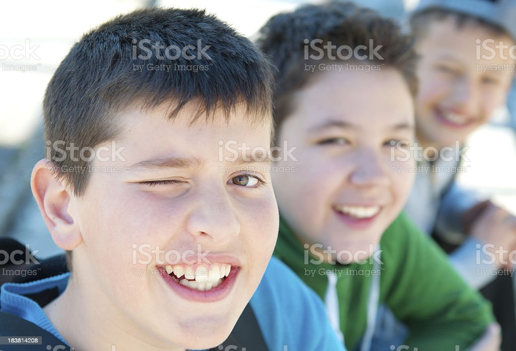 three smiling friends royalty-free stock photo