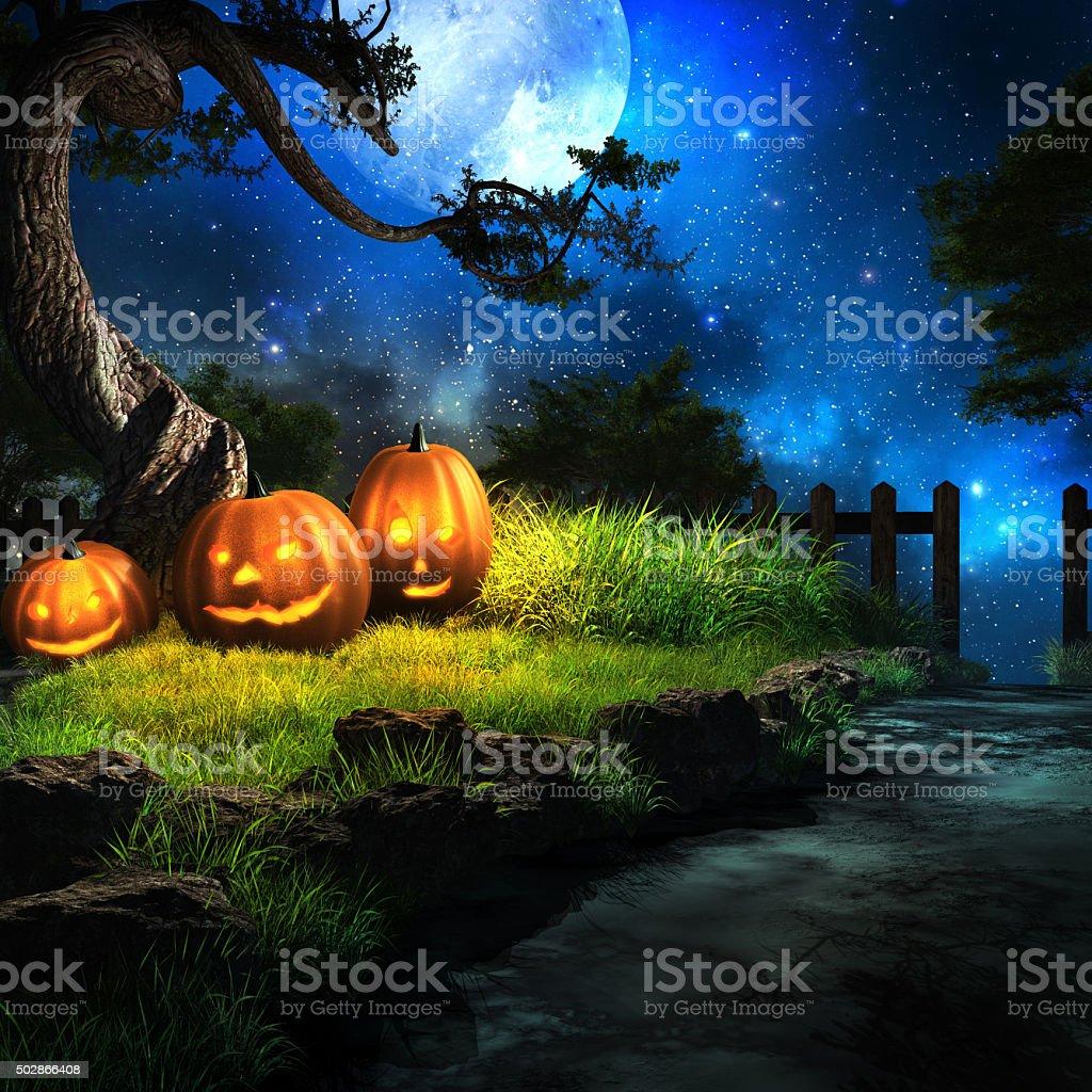 Three smiling pumpkins stock photo