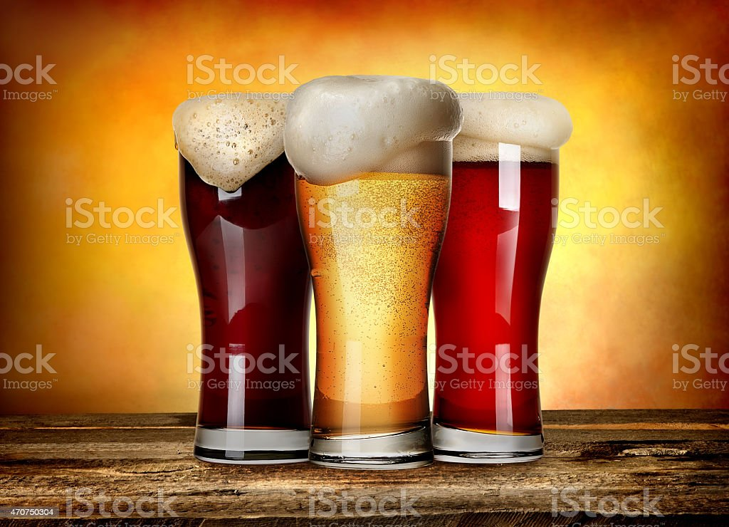 Three sorts of beer stock photo