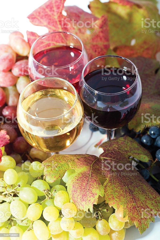 three sorts of wine royalty-free stock photo