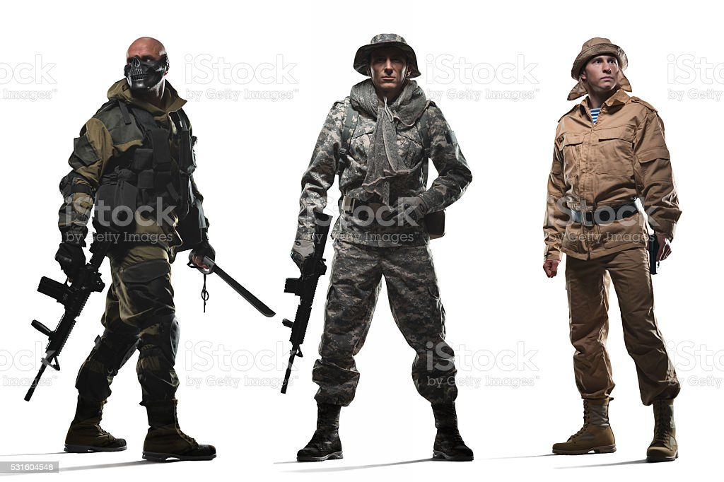 Three special forces men  on a white background stock photo