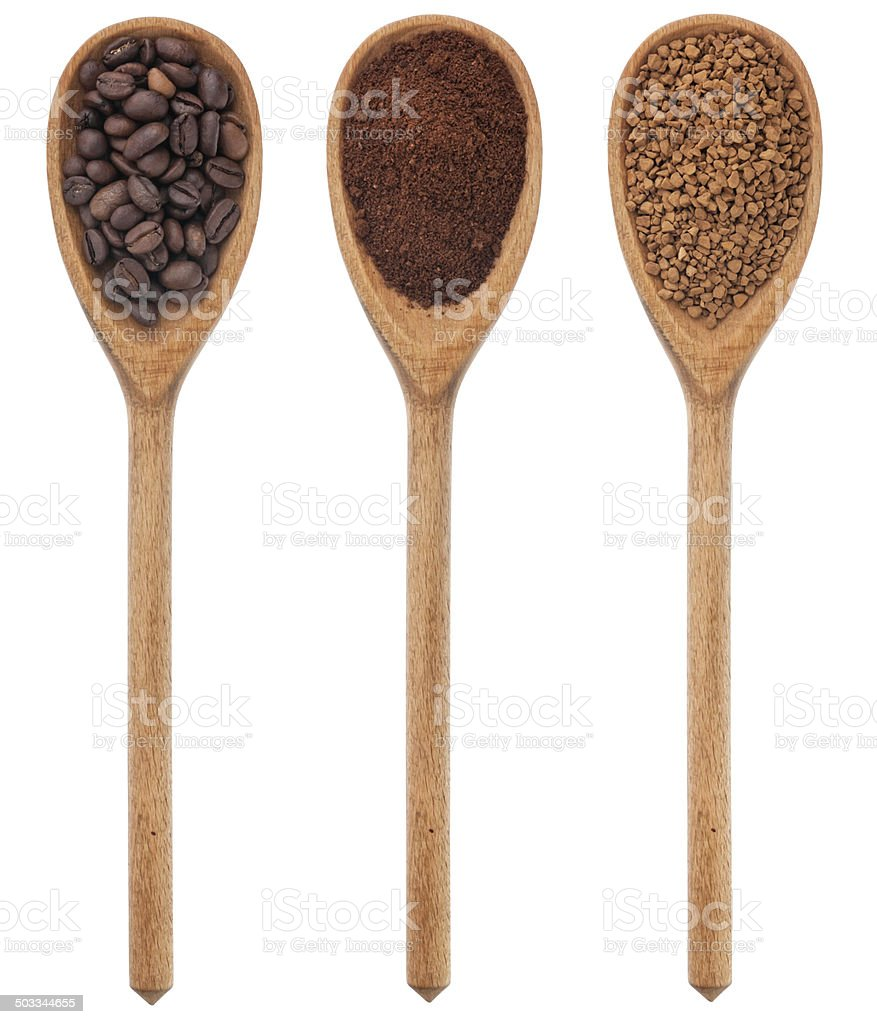 Three spoons freshly ground coffee, beans, granular stock photo