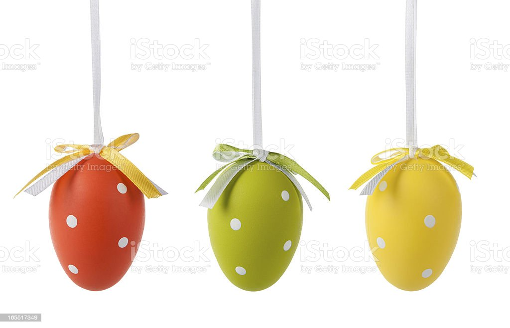 Three spotted easter eggs royalty-free stock photo
