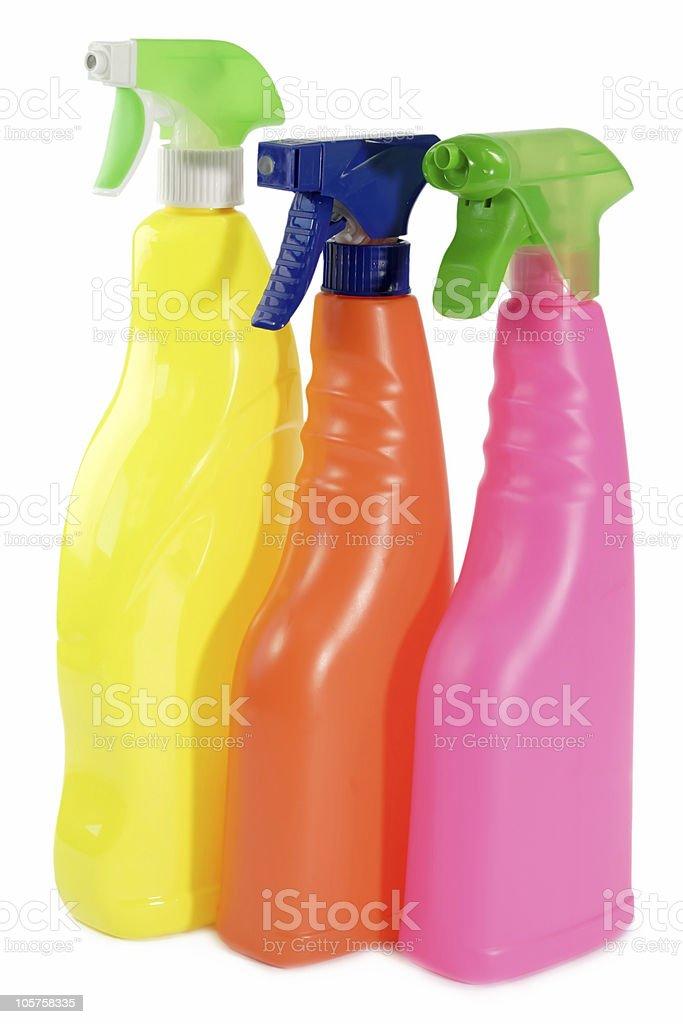 Three spray bottles royalty-free stock photo