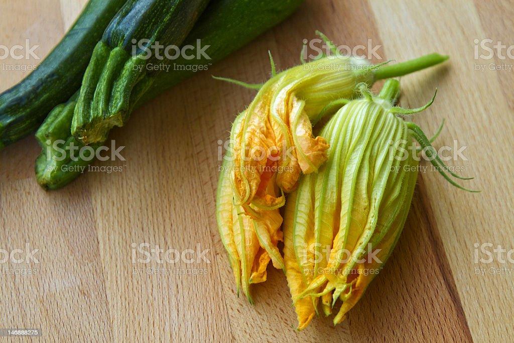Three squash blossoms stock photo