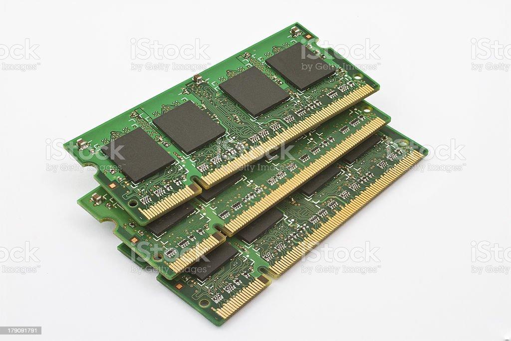 three stacked memory modules stock photo