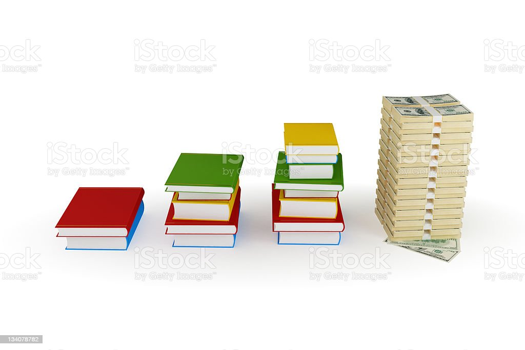 Three stacks of books and large dollar stack. royalty-free stock photo