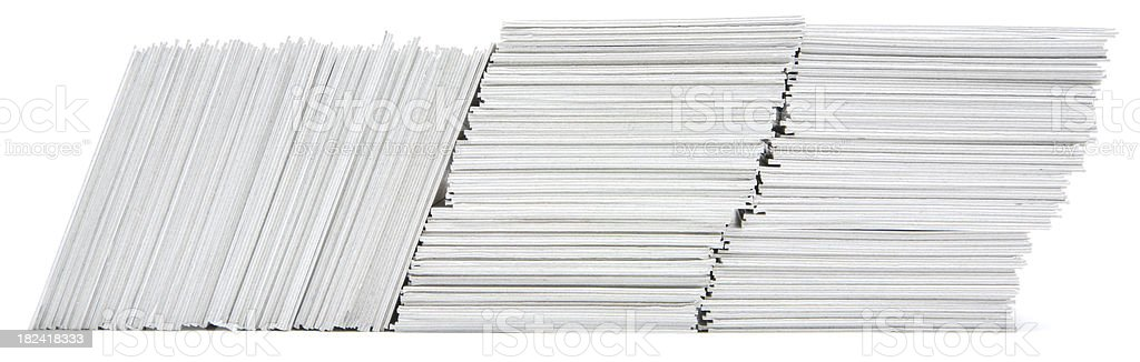 Three stacks of hand trimmed cards royalty-free stock photo