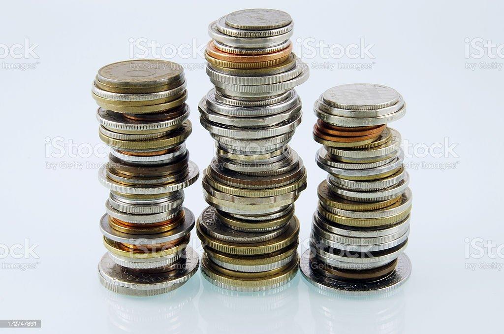Three stacks stock photo