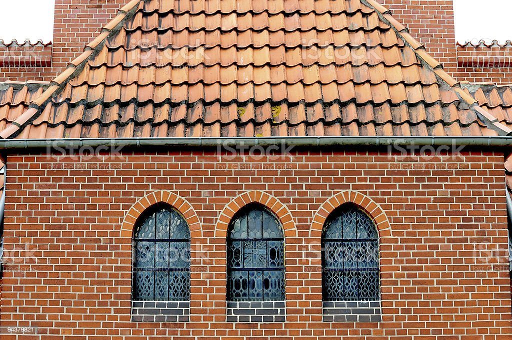 Three stained glass windows stock photo