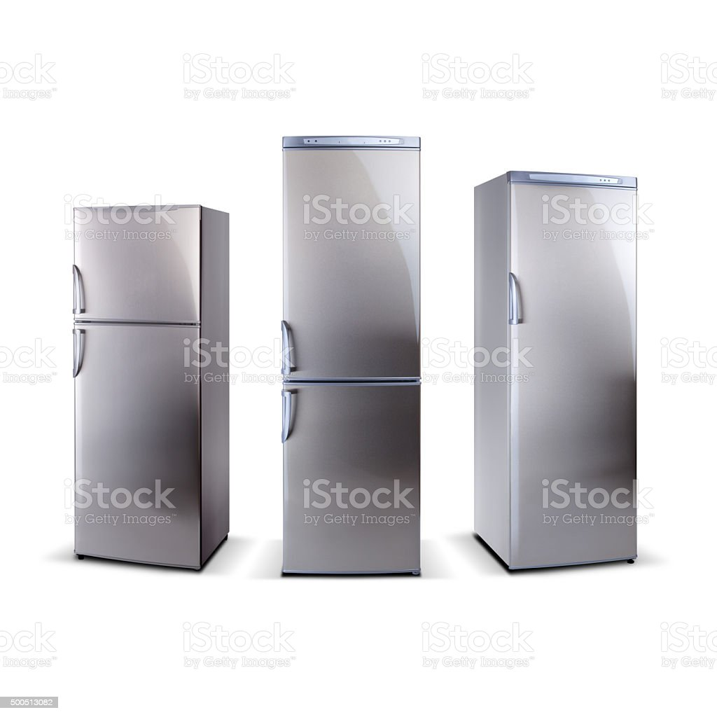 Three stainless steel refrigerators isolated on white stock photo