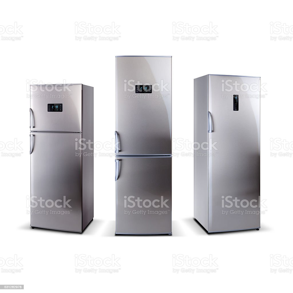 Three stainless steel refrigerators with external LED display stock photo