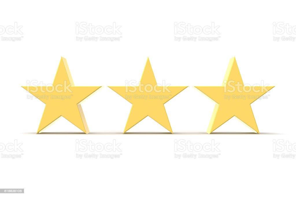 Three Stars, Gold stock photo