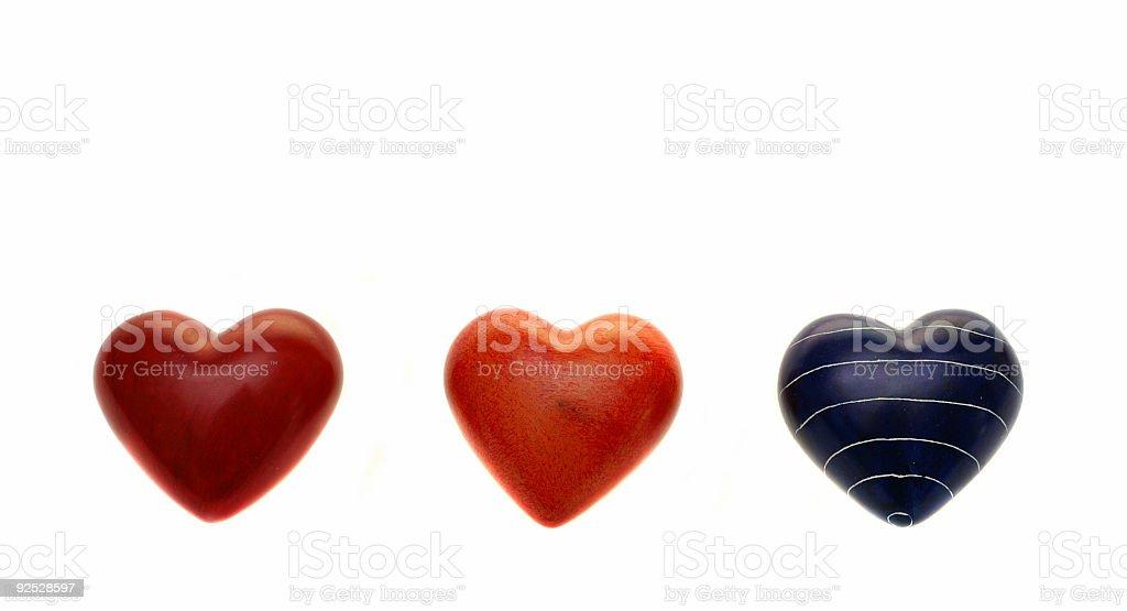 Three Stone Hearts royalty-free stock photo