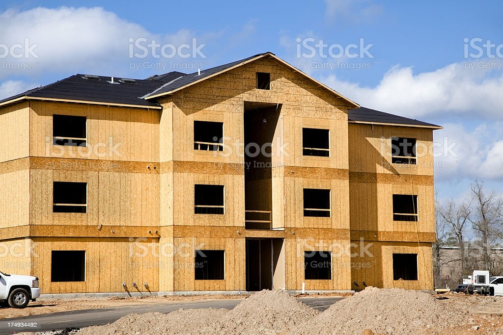 Three story apartment complex construction site close up royalty-free stock photo