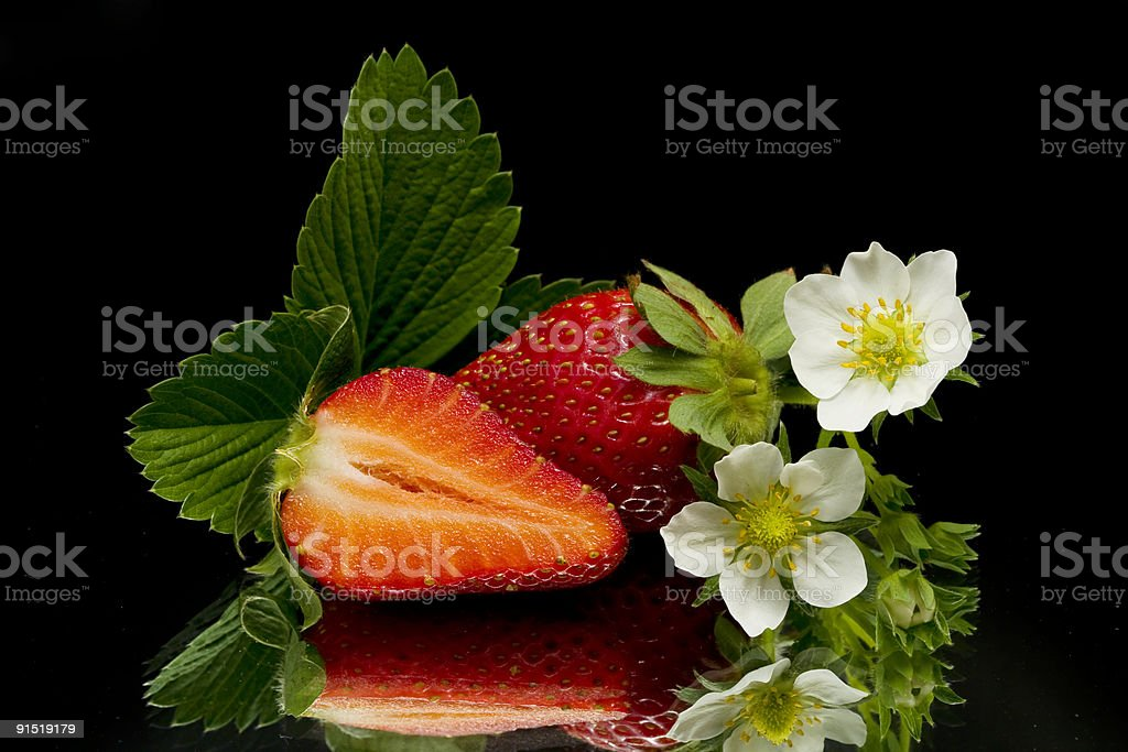 three strawberries lief and blossoms stock photo