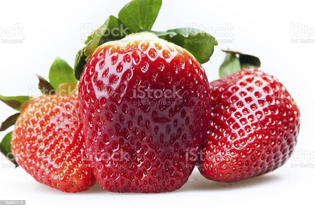 three strawberries royalty-free stock photo