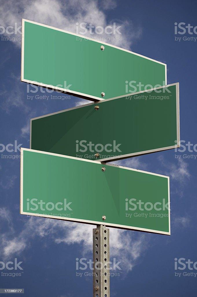 Three street signs stock photo