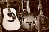 Three Stringed Folk Instruments on Stage