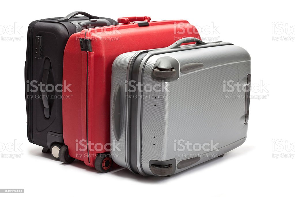 Three Suitcases on White Background stock photo