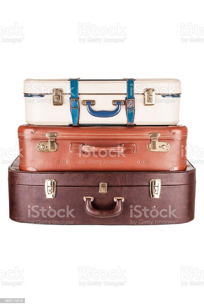 Three suitcases stock photo