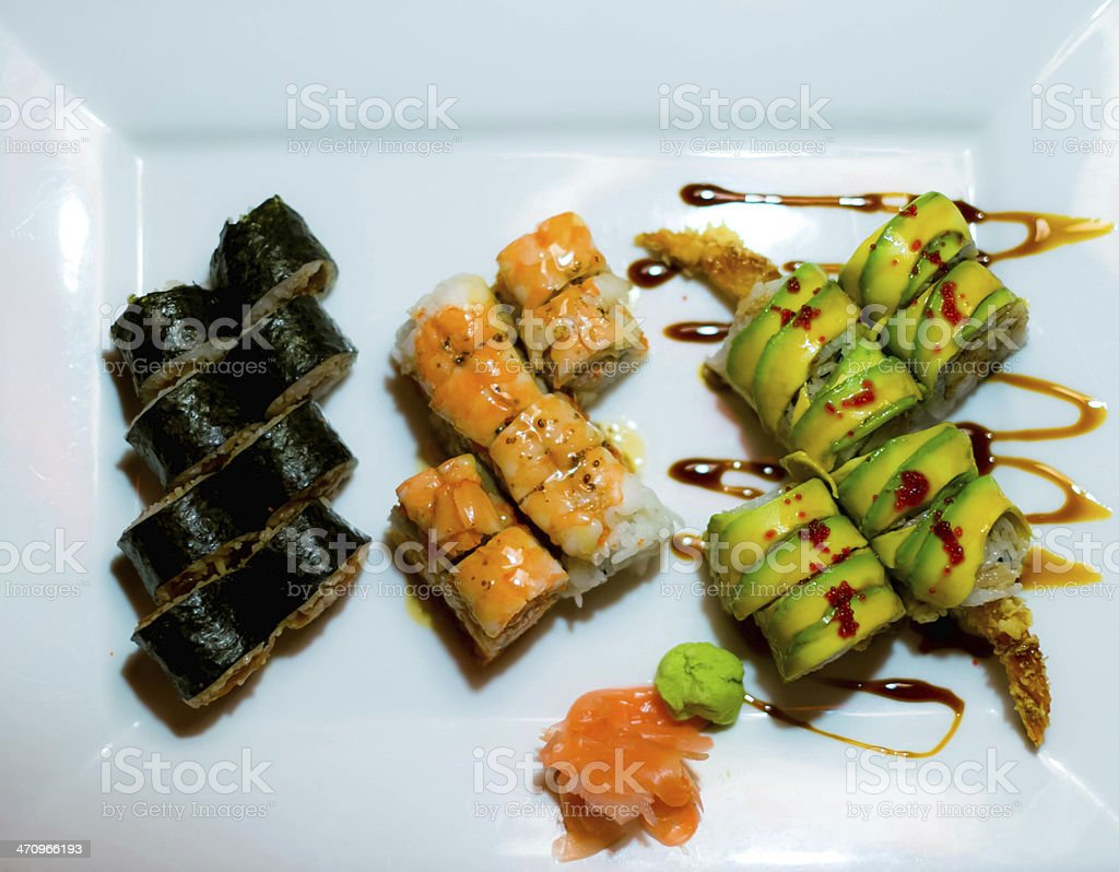Three Sushi Rolls stock photo