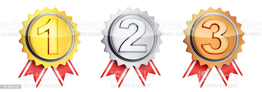 Three symbol medal winner stock photo