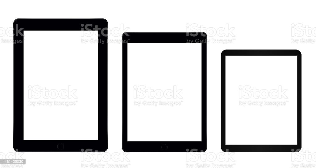Three tablet computers stock photo