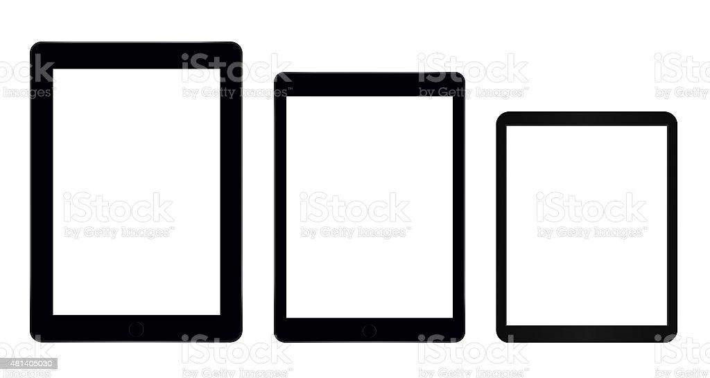 Three tablet computers stock photo