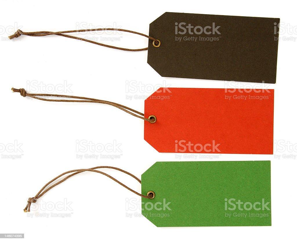 Three tags stock photo