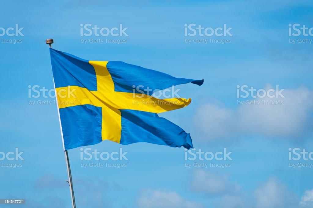 Three tailed Swedish Navy Flag royalty-free stock photo