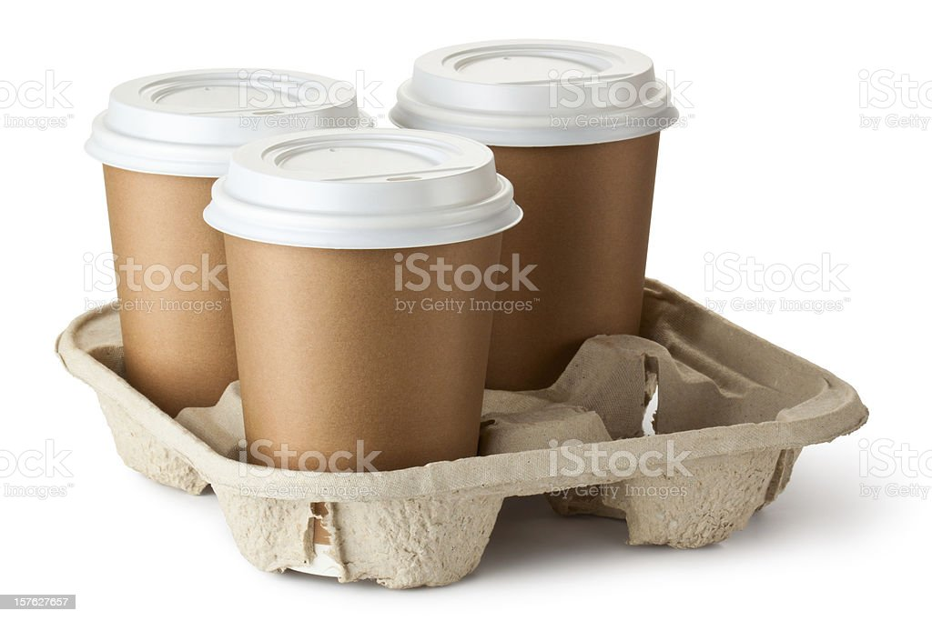 Three take-out coffee in holder royalty-free stock photo