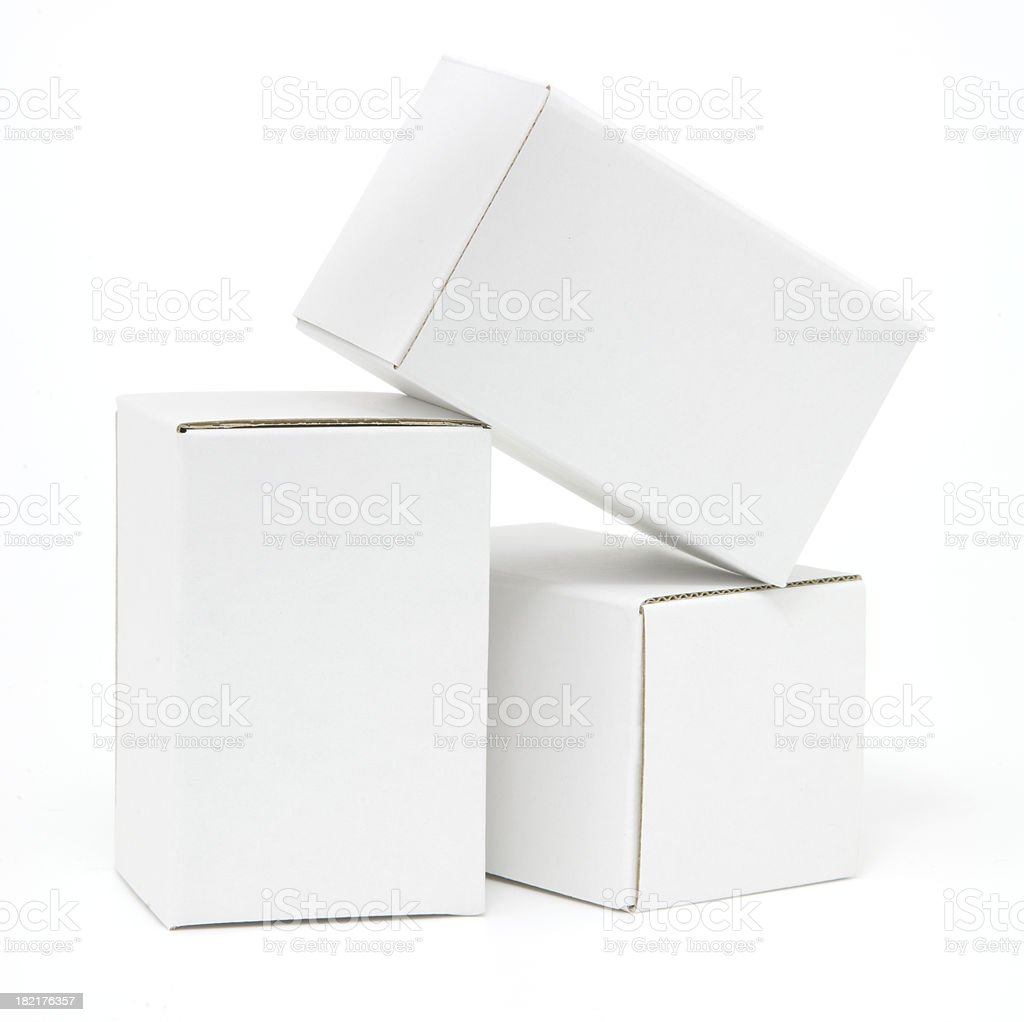 Three tall white cartons isolated stock photo