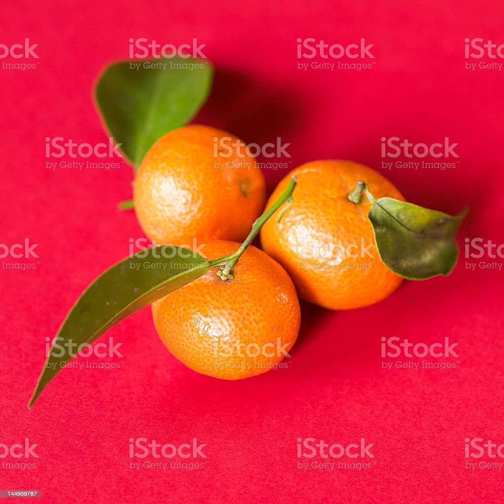Three tangerines with Leaves royalty-free stock photo
