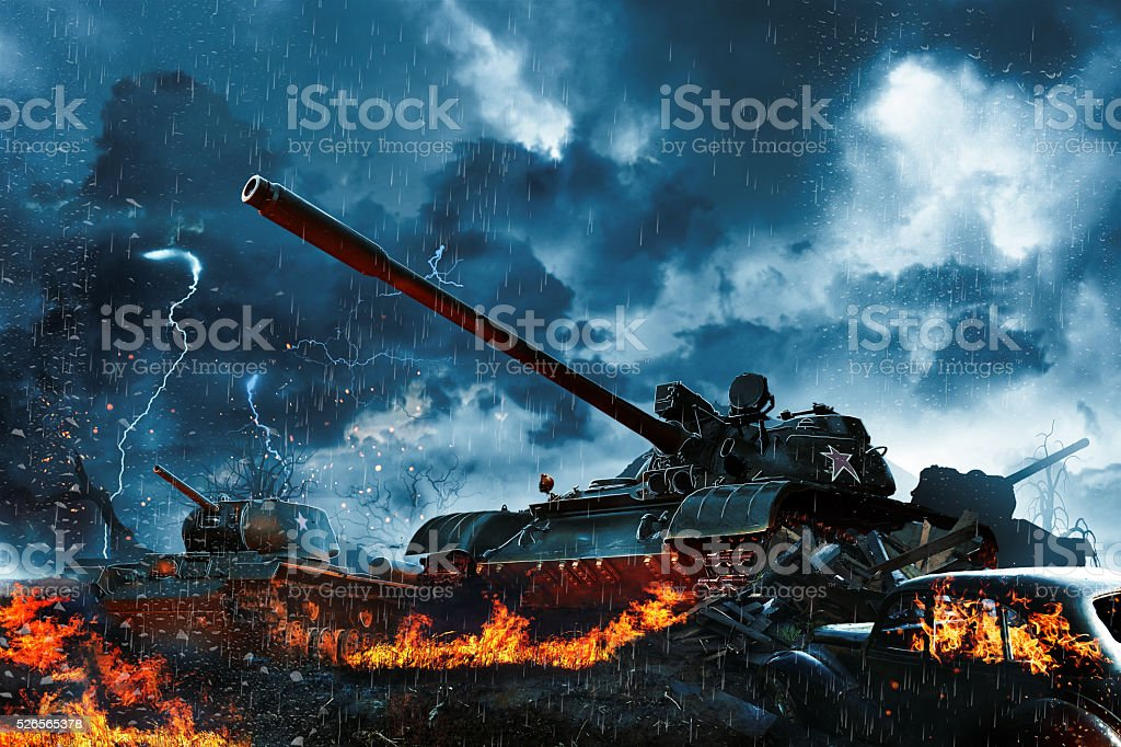 Three tanks in the rain forest stock photo