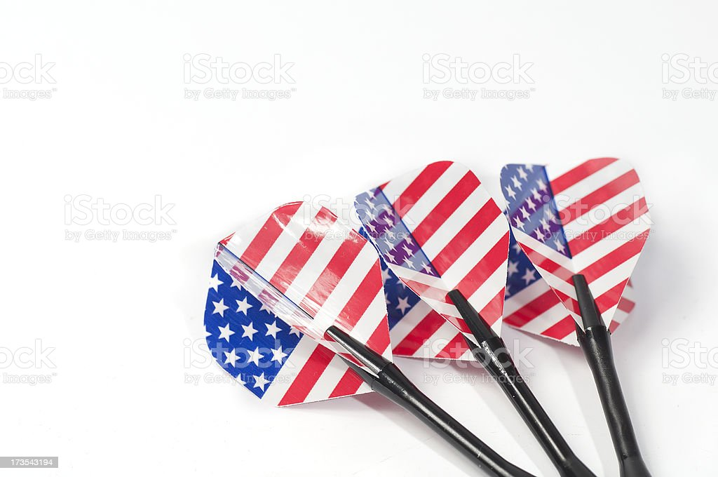 Three target playing darts, whit USA flag colors royalty-free stock photo