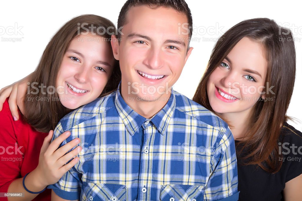 Three teenagers smiling royalty-free stock photo